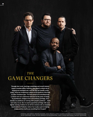 Photo of New York designers Jake Barton, Jeffrey Zeldman, Allan Chochinov, and Eddie Opara in Print Magazine 2016 cover story.