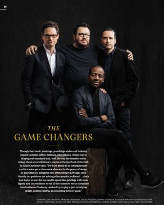 Photo of New York designers Jake Barton, Jeffrey Zeldman, Allan Chochinov, and Eddie Opara in Print Magazine 2016 cover story.